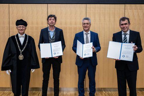 Verleihung von Ehrendoktorwürden an Christian Drosten, Gerd Sutter und Lothar H. Wieler